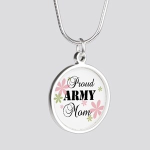 Army Mom [fl] Silver Round Necklace